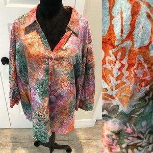 Catherines Leaf Batik Pattern Blouse